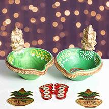 Designer Diya With Divine Stickers: Diwali Gifts