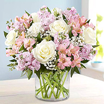 Pink and White Floral Bunch In Glass Vase: Gifts