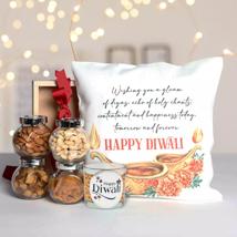 Diwali Gifts Hamper With Printed Cushion: Diwali Gift Ideas