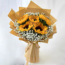 Ravishing Sunflowers Beautifully Tied Bouquet: Flower Delivery