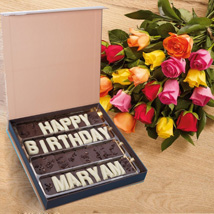 Multicolor Roses n Birthday Chocolates: