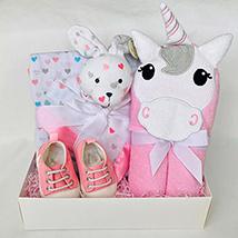 Unicorn Hoodie Towel & Blankets Baby Hamper: Gifts for Kids