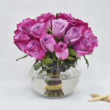 Purple Roses in Glass Bowl: Order Flowers